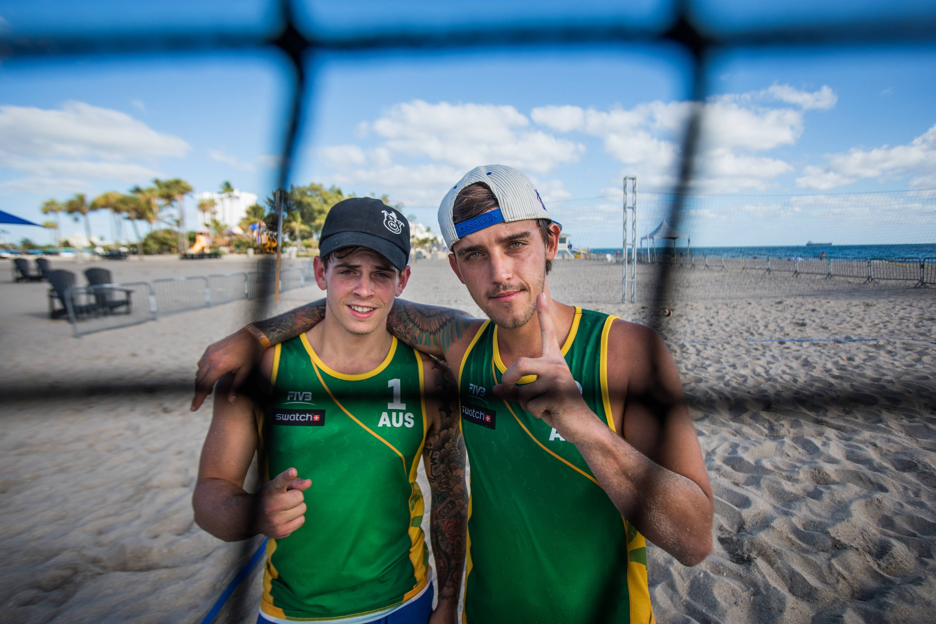 Beau Brooks (right) and Daniel Sayhounie on Fort Lauderdale Beach. Photocredit: Ian Witlen.