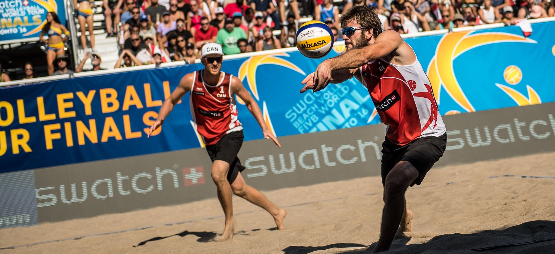 Ben and partner Chaim Schalk in action on home sand at the Toronto Finals last September.