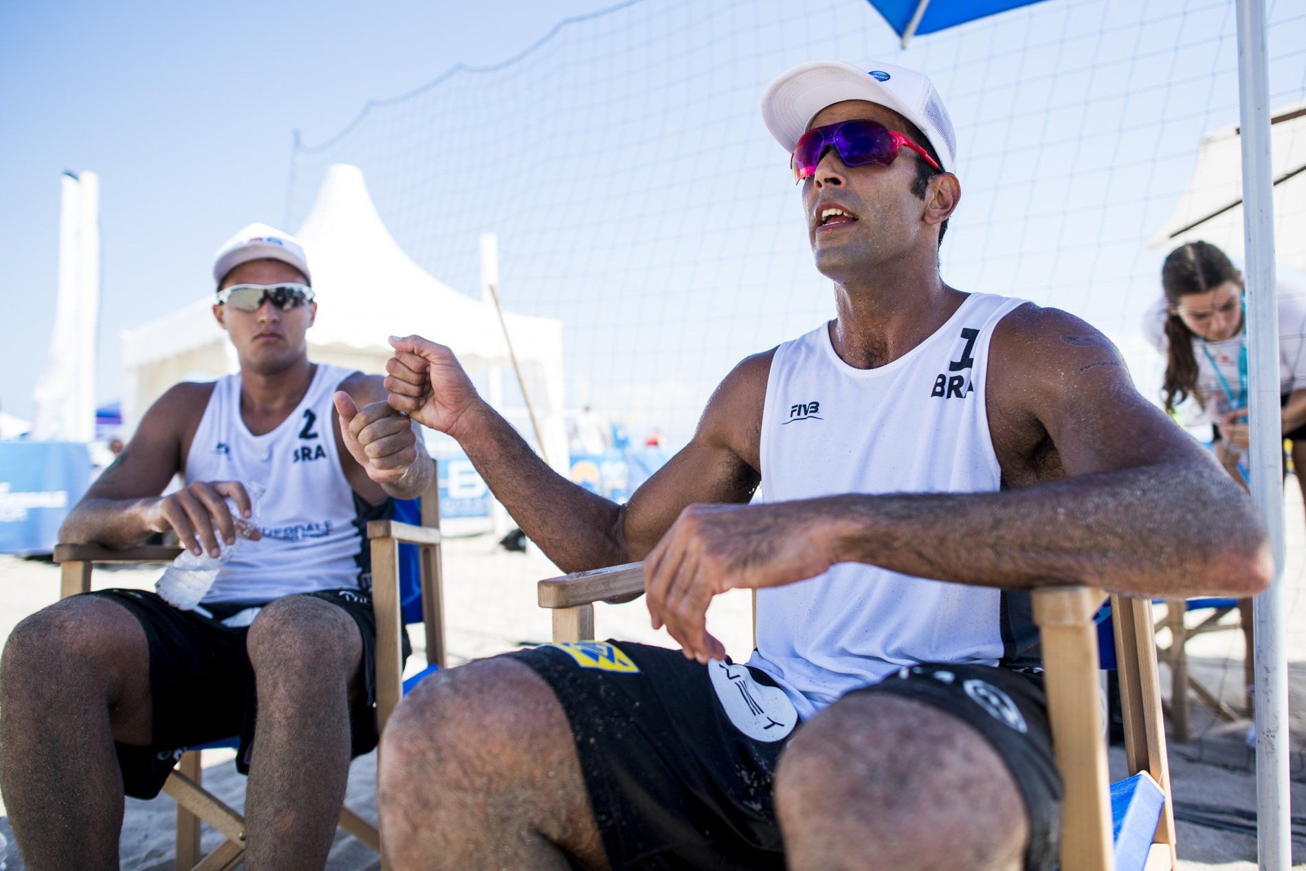 George Wanderley (left) and Pedro Solberg are playing on their first Beach Major Series event together