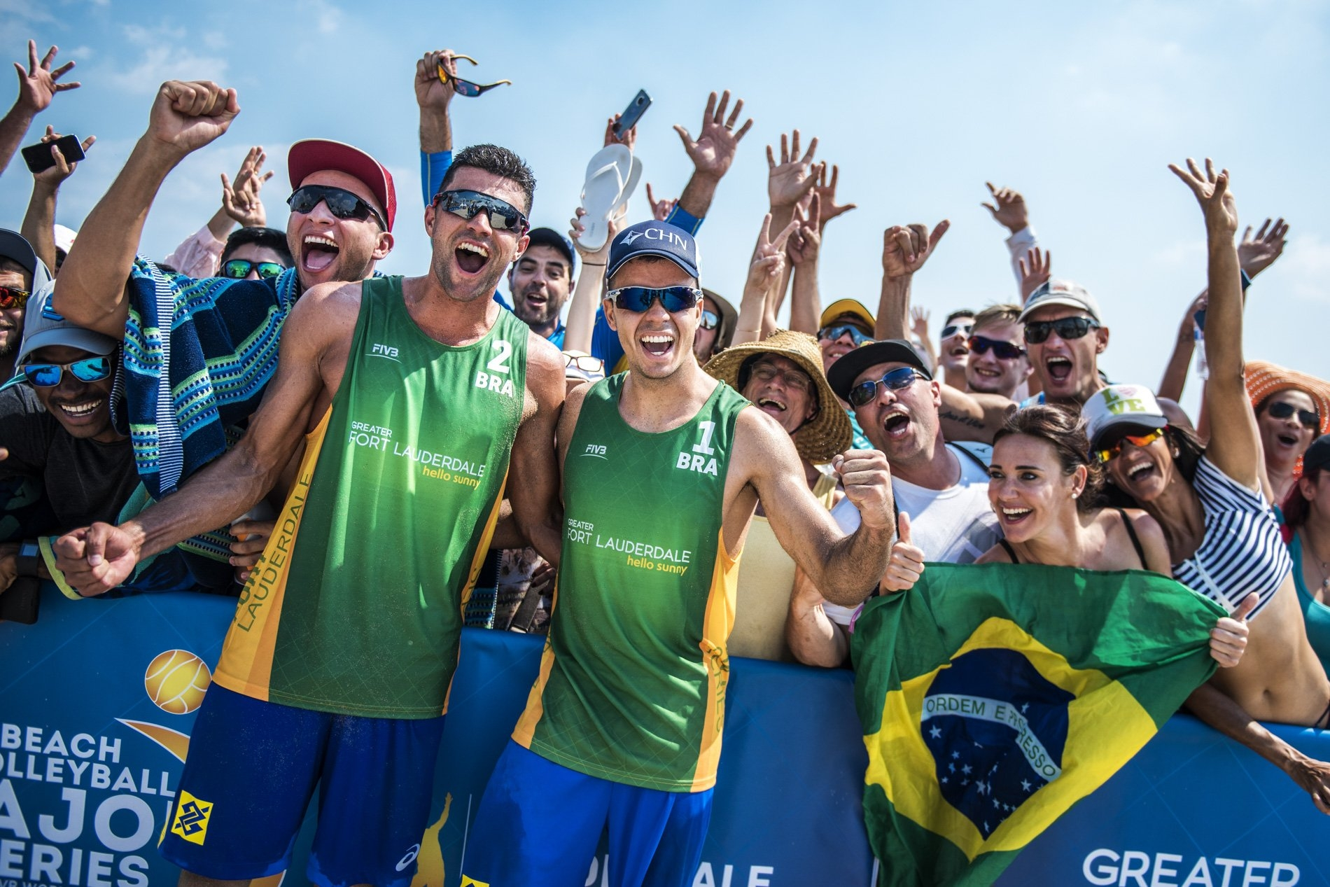 Guto and Vitor celebrate with the numerous Brazilian fans following the Fort Lauderdale Major