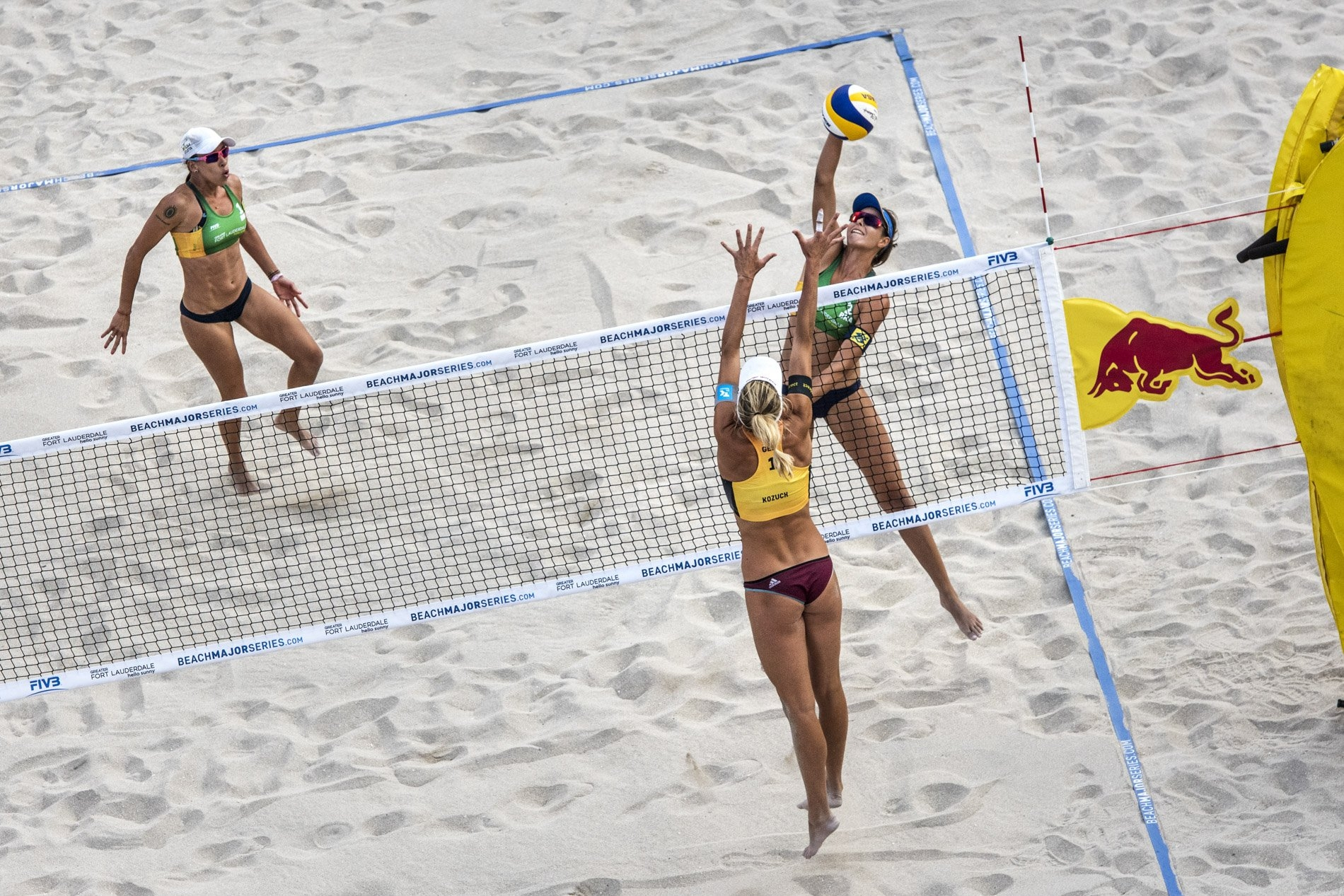 Carol Horta faces the German block at the Red Bull Beach Arena