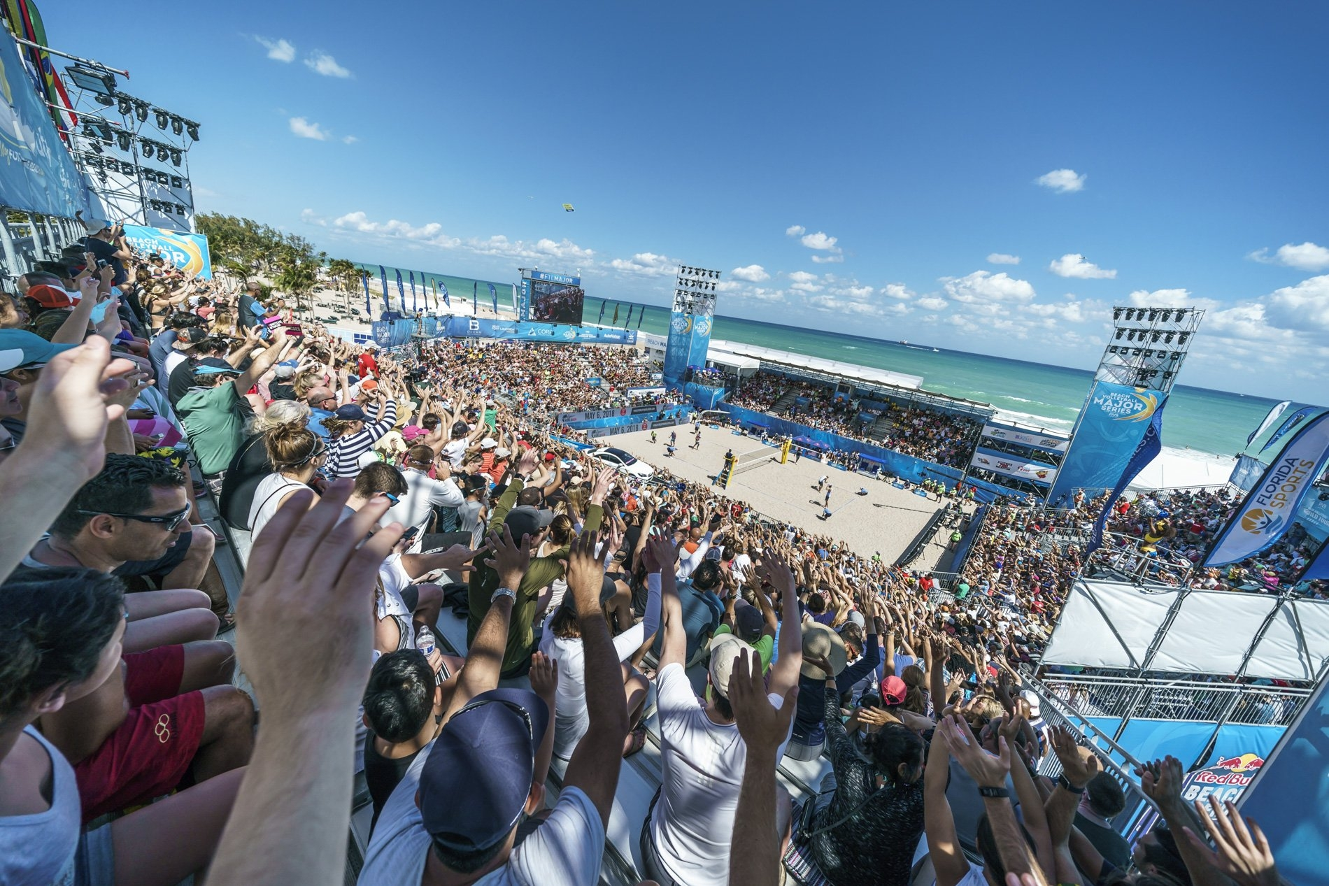 The packed Red Bull Beach Arena during the gold medal match